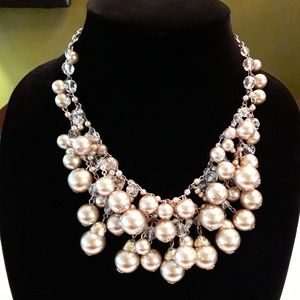 Silver Pearl & Crystal Statement Necklace